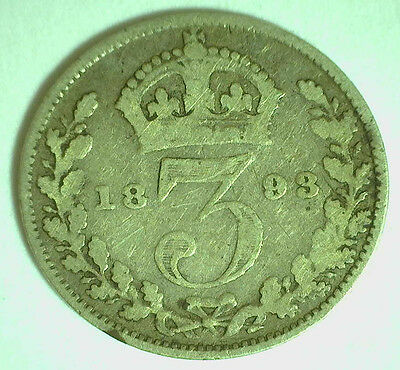 1893 Silver English 3 Pence Three Cent Great Britain UK Coin YG