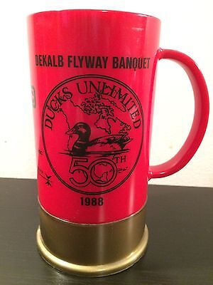 Red Ducks Unlimited 50th Anniversary Shotgun Shell Beer Mug Big Shot Made In USA