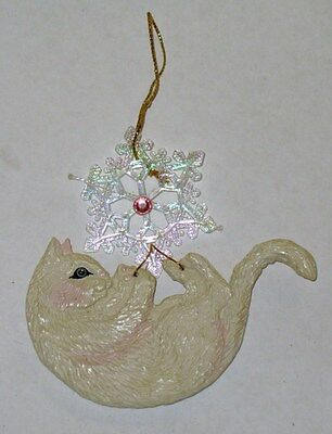 Vintage  White Cat Playing With Snowflake Ornament