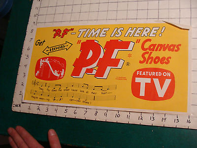 vintage P.F. Shoes Unused paper sign: P F TIME IS HERE Canvas shoes Featured TV