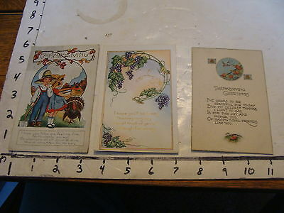 vintage used old cards: 3 THANKSGIVING from the 1920's POSTCARDS