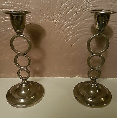 1960s Contemporary Designed Pair of Candleabra Sticks Silver Plated