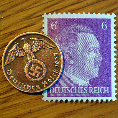 WORLD WAR 2 Artifact Bronze German Nazi Army Coin Third Reich Swastika + Stamp