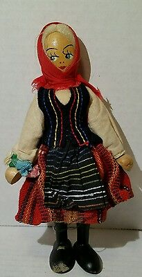 "Vintage 7 1/2"" Wooden String Jointed German Doll"
