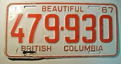 1967 British Columbia Passenger License Plate 479-930