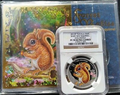 2013-P Tuvalu 1/2 oz Proof Silver Colorized Forest Babies - Baby Red Squirrel