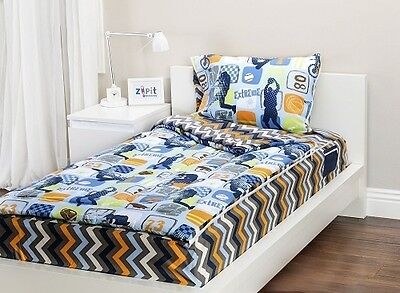 Zipit Bedding Extreme Sports Twin-Size Bedding Set  Glows In The Dark! *New*