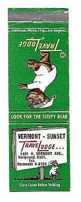 Vintage Matchbook Cover From Vermont-Sunset TraveLodge in Hollywood, Calif.