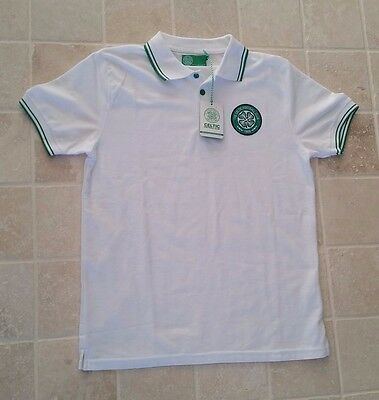Celtic Football Club polo shirt white size medium NEW WITH TAGS