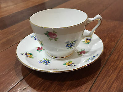 Vintage Crown Staffordshire Porcelain Cup & Saucer w/ Flowers Decoration