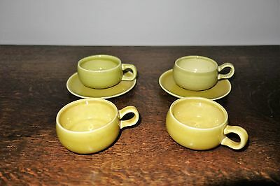 6 Pcs. Russel Wright American Modern Demi Tasse Cups and Saucers in Chartreuse