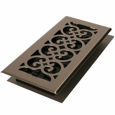 Decor Grates SPH214-NKL 2-Inch by 14-Inch Scroll Floor Register, Brushed Nickel
