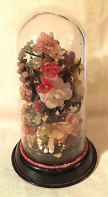 Antique Victorian Mourning Wax Flowers under Glass Dome Small Amazing Detail