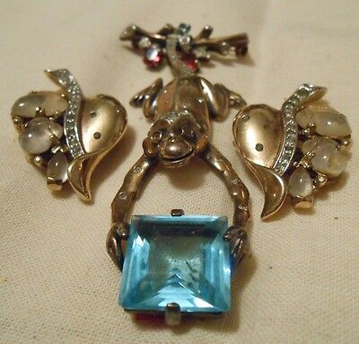 Vintage Antique 1940's Philippe Trifari Sterling Monkey Pin BROACH EARRING SET