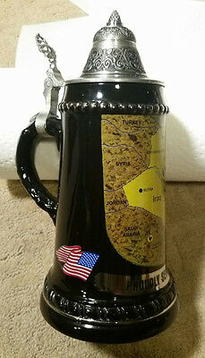 """NEW/TAG Zinn PROUDLY SERVED IN IRAQ 97% Pure Pewter Beer Stein For a Vet 9"""" Tall"""