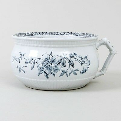 Johnson Bros. Black & White Ironstone 'Floral' Pattern Single Handle Chamber Pot