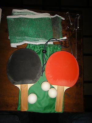 Table Tennis Set Portable Quality Ping Pong Expandable Net Includes Paddles Ball