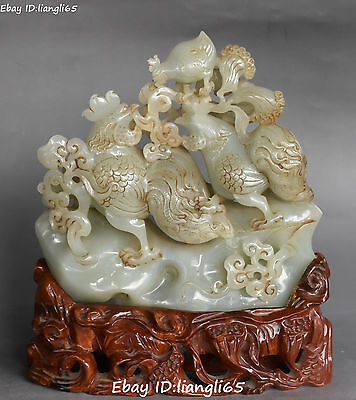 Rare Old China He Tian Jade Carving 3 Three chicken chook Rooster Animal Statue