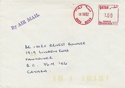 """Qatar 1982 """"Metered"""" Cover to Canada"""