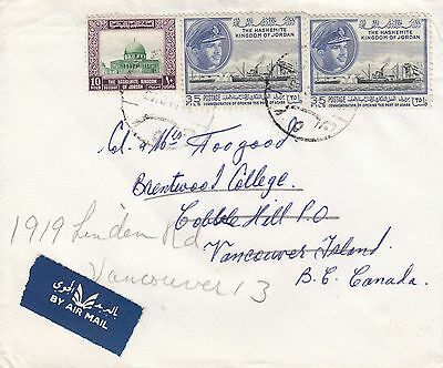 Jordan 1963 Commercial Air Mail Cover to Canada