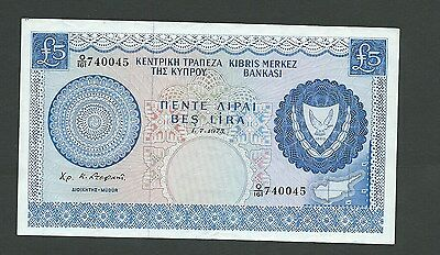 Cyprus Five Pounds Note  Dated 1.7.1975 Very Scarce, In Uncirculated Condition