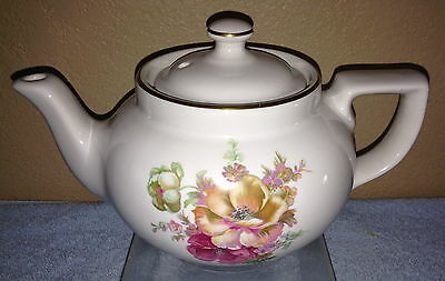Boston 3-Cup White Teapot with Wild Rose Decal and Gold Trim made by Hall China