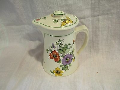 Vintage Steubenville Ivory Pitcher w/Lid - Yellow, Red & Purple Poppies  -4.75""
