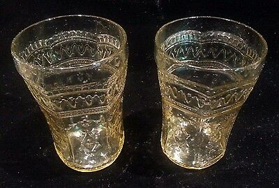 Pair of Federal Patrician Spoke Amber Depression Glass Flat Water Tumblers