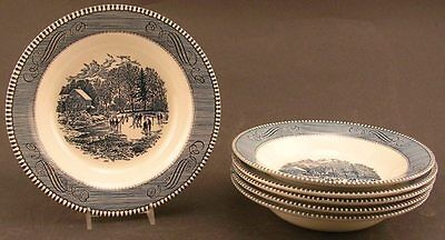 6 Royal China Currier And Ives Blue And White 8 1/2ins Soup Bowls Early Winter