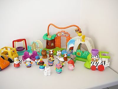 Fisher Price Little People Bulk Lot + Zoo Playset Race Car Train + Bus + People