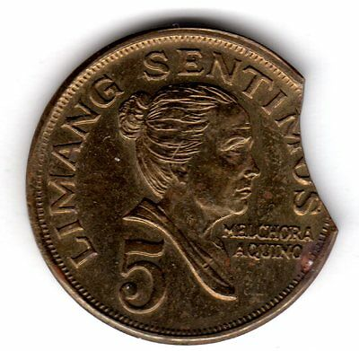 Clipped Planchet 1968 Philippines 5 Centavos See Scan