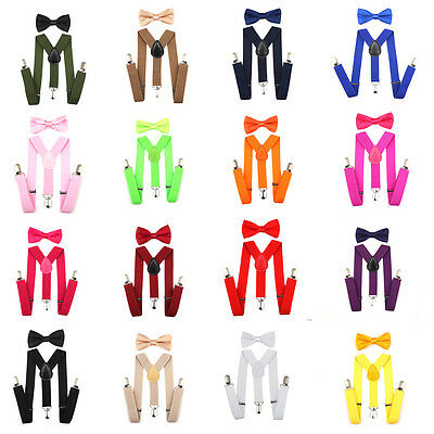 New Suspender Bow Tie Elastic Matching Colors Sets Boys Girls Kids Child Toddler