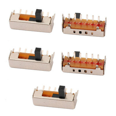 5Pcs 4 Position 6P 1P4T Panel Mount Micro Slide Switch Latching Power Switch