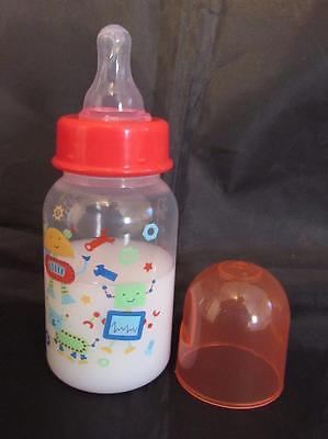 Reborn Baby 5oz Fake Faux Milk baby bottle with robots & red ring Photo prop