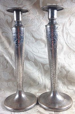 Antique Vintage Pair Signed Silver Crest Sterling Decorated Bronze Candle Sticks