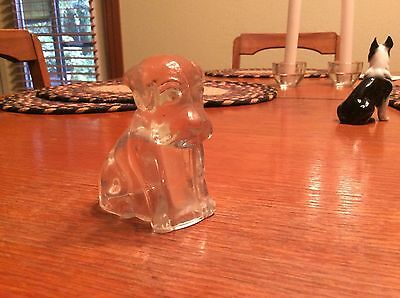 Old Vintage 1940's Depression Clear Glass Mopey Puppy Candy Container Federal