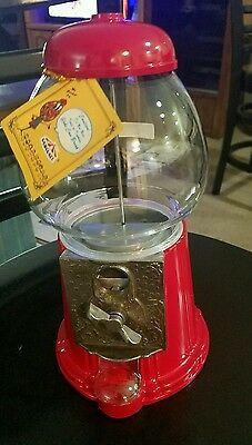 New Vintage Red Carousel Bubble Gum Machine Cast Metal Glass Globe 1985 014917