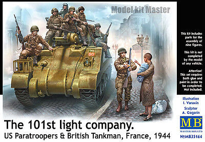 101th light company US paratroopers and British tankman 1/35 Master Box # 35164