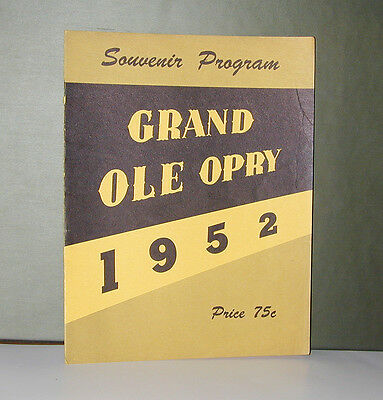 old vintage 1952 HANK WILLIAMS Grand Old Opry program with HANK SNOW autograph