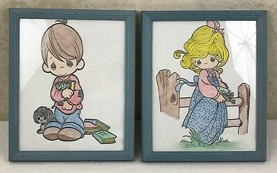 Set of 2 PRECIOUS MOMENTS BOY & GIRL w/ Bible Hand Colored Pictures Framed Vtg
