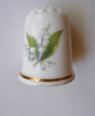 Vintage Fine Bone China Thimble LADY ELEANOR Made in England, Flower & Gold Trim