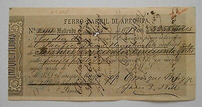 PERU bill of exchange with unusual fiscal revenue stamps overprint LORETO 1870
