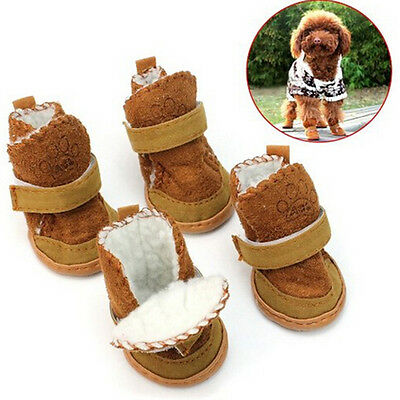 4 Pcs/Set Warm Winter Cozy Pet Dog Chihuahua Boots Puppy Shoes Small Dog MJ