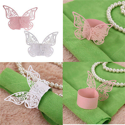 50Pcs Butterfly Napkin Ring Paper Holder Table Party Wedding Favors Banquet MJ