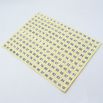 White Round Small Adhesive Stickers 1 To 102 Numbers Letters Garment Size Labels