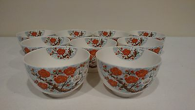 Antique Chinese Bone China Porcelain Teacups Cups Wakeien SRT6 set of 11
