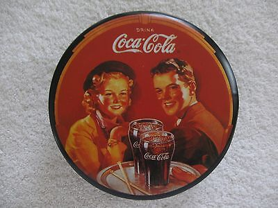 1988 Black Coca Cola Round Tin Can Young Couple Serving Tray w 2 Glasses of Coke