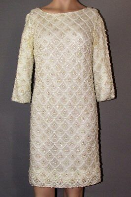 VINTAGE 50's-60's WHITE LACE BEADED & SEQUINNED DRESS