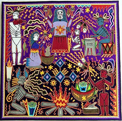 "23.5"" Huichol Yarn painting 60-045 Mexican Painting, Mexican Folk art, Wall art"