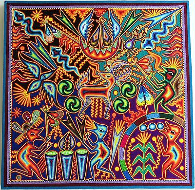 "23.5"" Huichol Yarn painting 60-046 Mexican Painting, Mexican Folk art, Wall art"
